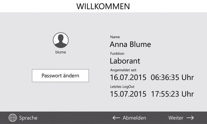 Benutzerverwaltung der Steuerung Control 2015touch