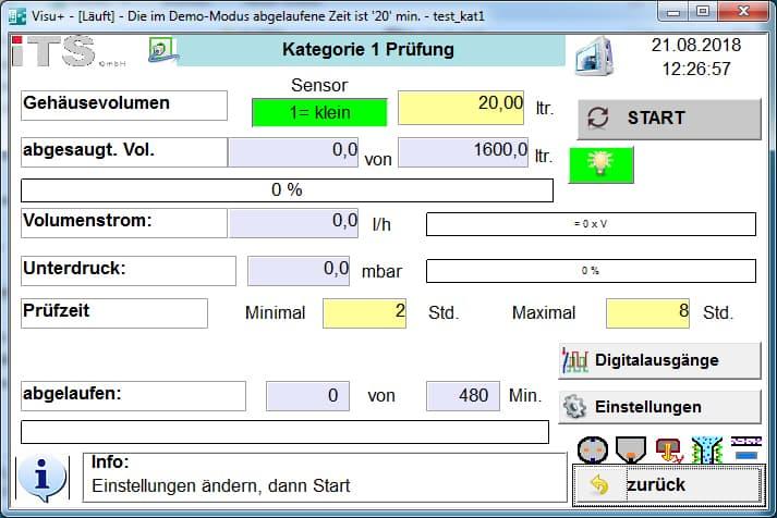 Darstellung der Eingaben für automatisierten Ablauf der ISO 20653 IP6X